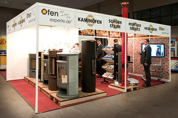 Der 24 qm große Messe-Stand von Ofenexperte.de bietet Aktionsfreiheit für drei bis vier Mitarbeiter.