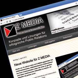 Neue Website von Z MEDIA Version 2012