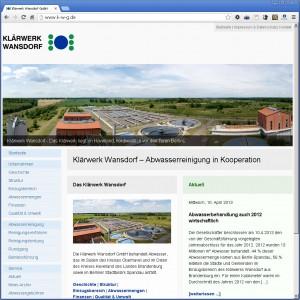 Startseite der Klärwerk Wansdorf GmbH