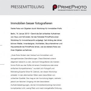PrimePhoto Pressemitteilung Workshop Immobilienfotografie